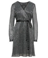Metallic Pleated Faux-Wrap